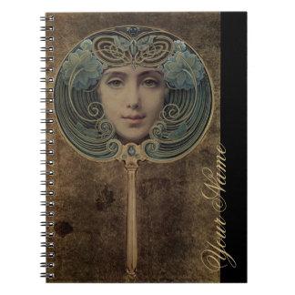 Art Nouveau Mirror & Monogram - Notebook