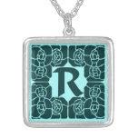 Art nouveau monogram letter R with roses cyan Pendant