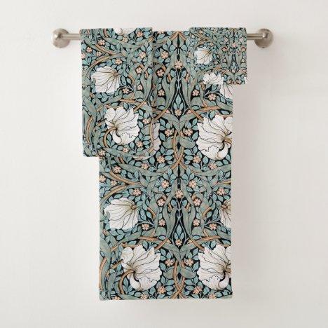 Art Nouveau Morris Pimpernel Floral Bath Towel Set