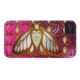 ART NOUVEAU MOTH WOMAN GEM MONOGRAM PINK PURPLE iPhone 4 Case-Mate CASE