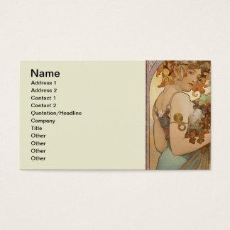Art Nouveau Mucha Beautiful Woman Fruit Business Card