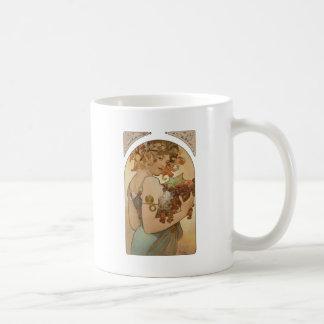 Art Nouveau Mucha Beautiful Woman Fruit Coffee Mug