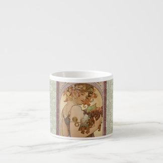 Art Nouveau Mucha Beautiful Woman Fruit Espresso Cup