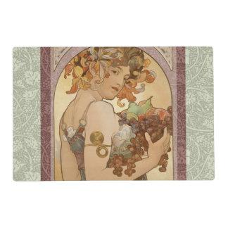 Art Nouveau Mucha Beautiful Woman Fruit Laminated Place Mat