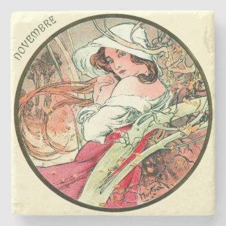 Art Nouveau Mucha Calendar November Stone Coaster