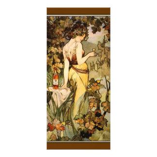 Art Nouveau Mucha cognac bookmark Rack Card