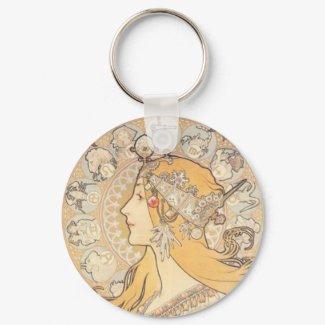 Art Nouveau ~ Mucha ~ LA PLUME keychain