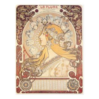 Art Nouveau ~ Mucha ~ LA PLUME Postcard