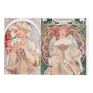 Art Nouveau Mucha Ladies Floral Pillowcase
