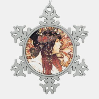 Art Nouveau Mucha Lady Snowflake Ornament