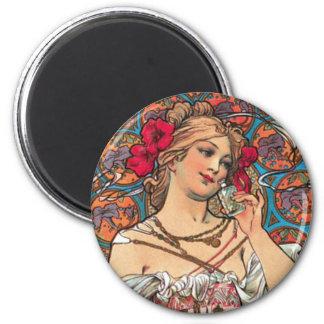 Art Nouveau - Mucha - Perfume Ad 2 Inch Round Magnet