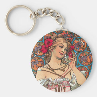 Art Nouveau - Mucha - Perfume Ad Basic Round Button Keychain