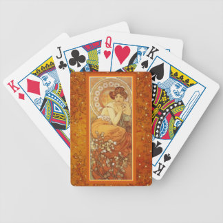 Art Nouveau Mucha Precious Stones Topaz November Bicycle Playing Cards