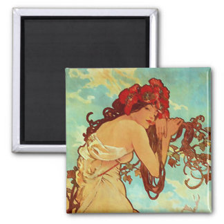 Art Nouveau - Mucha - Summer 2 Inch Square Magnet