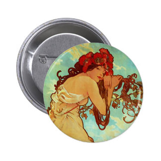 Art Nouveau - Mucha - Summer Button