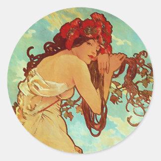 Art Nouveau - Mucha - Summer Classic Round Sticker