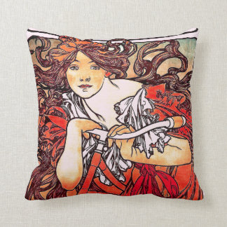 Art Nouveau Mucha Throw Pillow