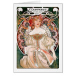 Art Nouveau Mucha Woman Nature Vintage Hiking Duck Greeting Card