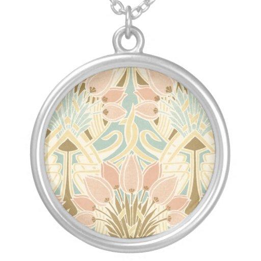 art nouveau nature floral pattern art custom necklace
