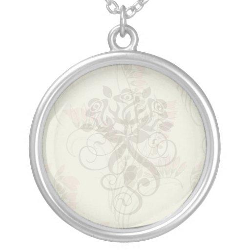 art nouveau nature pattern art round pendant necklace