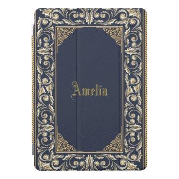 Art Themed Art nouveau, navy blue, gold,antique,belle époque, iPad pro cover