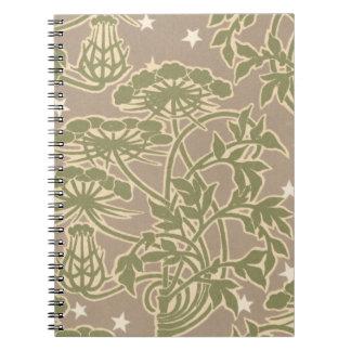 art nouveau neutral nature floral design notebook
