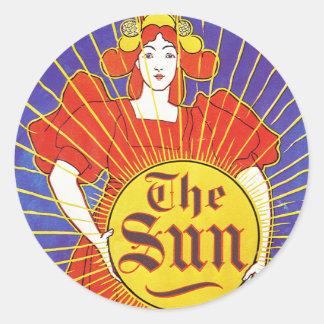 Art Nouveau:  New York Sun by Rhead Round Stickers