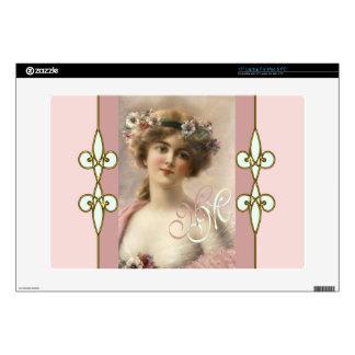 """Art Nouveau Nostalgic Monogram Victorian Lady 15"""" Laptop Decals"""