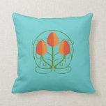 Art Nouveau Orange Tulips Throw Pillow
