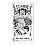Art Nouveau Owl Ex Libris Bookplate Stickers Shipping Label