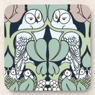 Art Nouveau Owls Nest Pattern Cork Coaster Set