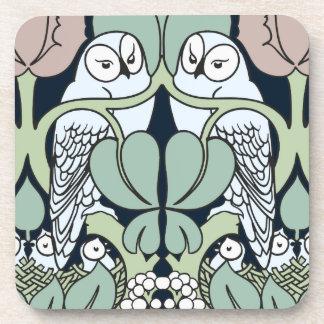 Art Nouveau Owls Nest Pattern Cork Coaster Set