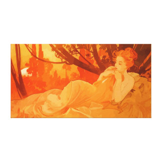 Art Nouveau painting inspired by Mucha Canvas Print