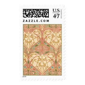 Art Nouveau Pale Design Stamp