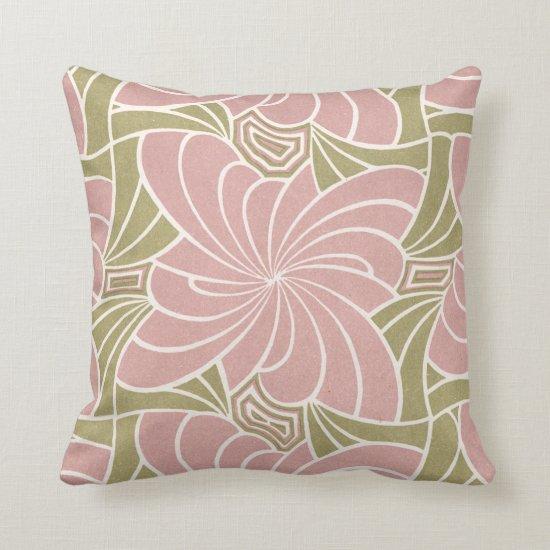 Art Nouveau Pale Pink Green Floral Throw Pillow