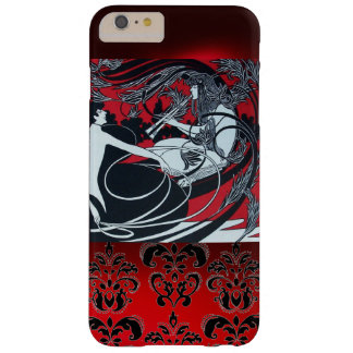 ART NOUVEAU PAN , RED BLACK WHITE DAMASK BARELY THERE iPhone 6 PLUS CASE