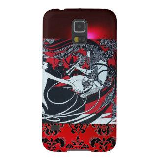 ART NOUVEAU PAN , RED BLACK WHITE DAMASK GALAXY S5 CASE