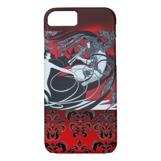 ART NOUVEAU PAN , RED BLACK WHITE DAMASK iPhone 7 CASE