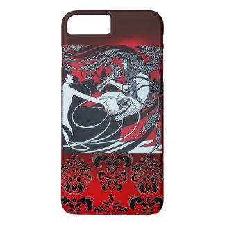 ART NOUVEAU PAN , RED BLACK WHITE DAMASK iPhone 7 PLUS CASE