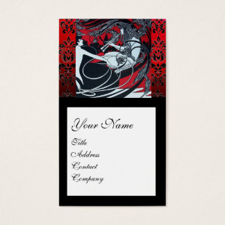 ART NOUVEAU PAN , RED BLACK WHITE DAMASK MONOGRAM BUSINESS CARD