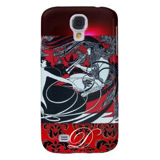 ART NOUVEAU PAN , RED BLACK WHITE DAMASK MONOGRAM GALAXY S4 CASE