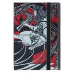 ART NOUVEAU PAN , RED BLACK WHITE DAMASK MONOGRAM iPad MINI COVER