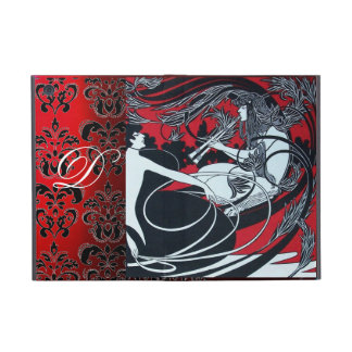 ART NOUVEAU PAN , RED BLACK WHITE DAMASK MONOGRAM iPad MINI COVER
