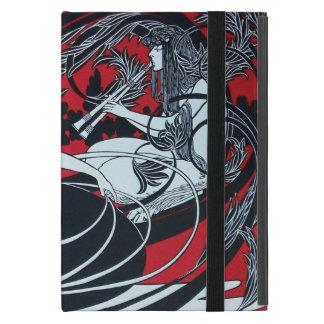 ART NOUVEAU PAN , RED BLACK WHITE DAMASK MONOGRAM iPad MINI CASE