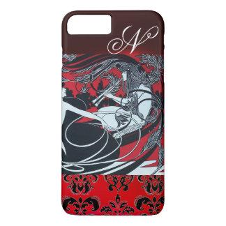 ART NOUVEAU PAN , RED BLACK WHITE DAMASK MONOGRAM iPhone 7 PLUS CASE
