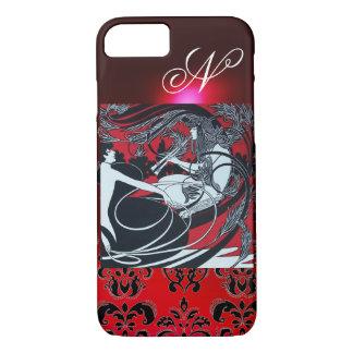 ART NOUVEAU PAN , RED BLACK WHITE DAMASK MONOGRAM iPhone 8/7 CASE