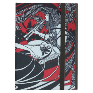 ART NOUVEAU PAN , RED BLACK WHITE DAMASK ,Ruby Case For iPad Air