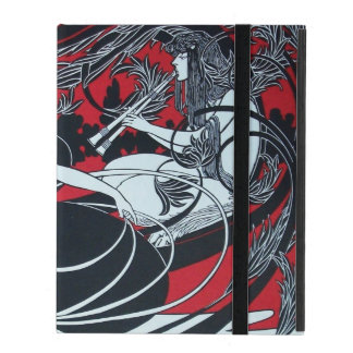 ART NOUVEAU PAN , RED BLACK WHITE DAMASK ,Ruby iPad Cases