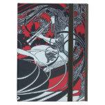ART NOUVEAU PAN , RED BLACK WHITE DAMASK ,Ruby iPad Covers