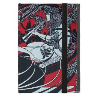 ART NOUVEAU PAN , RED BLACK WHITE DAMASK ,Ruby Case For iPad Mini